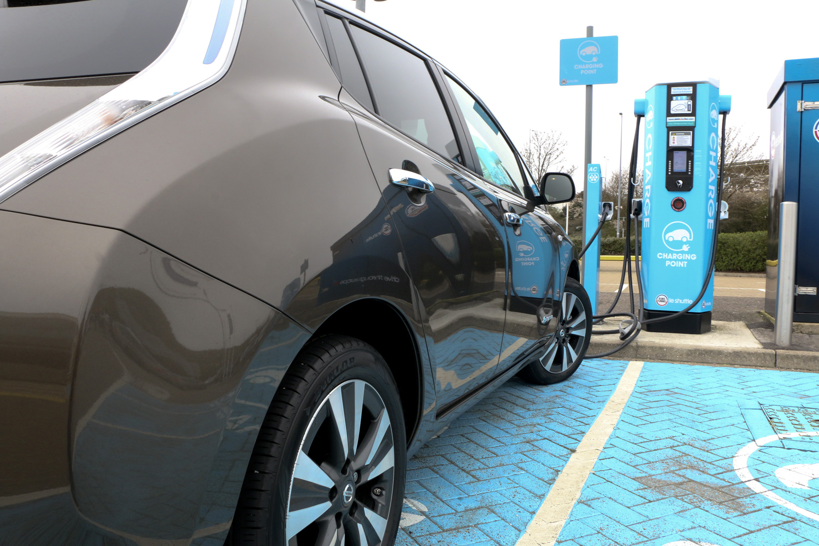 Nissan Leaf charging at the Eurotunnel, Folkstone, UK