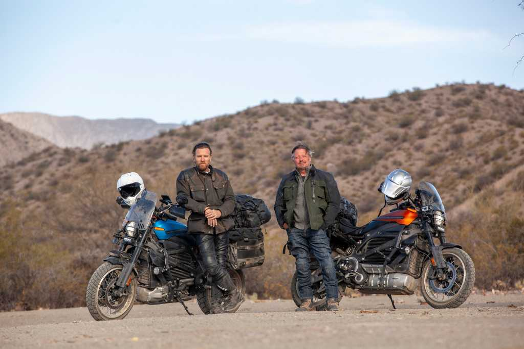 """Ewan McGregor (L) and Charley Boorman (R) on set of """"The Long Way Up"""""""