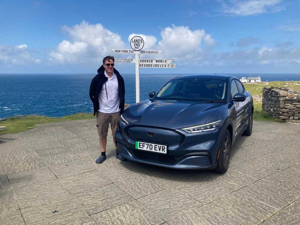 Fergal McGrath and the Ford Mach-E at Lands End